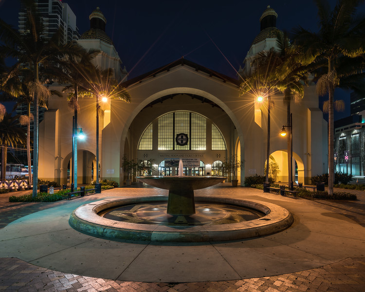 The front of the San Diego, Santa Fe Train Depot.<br /> 🔸 Early morning shooting donwtown San Diego.<br /> 1▫24▫16<br /> 🔸 9 shot HDR, PS 32 bit | Adobe Camera RAW