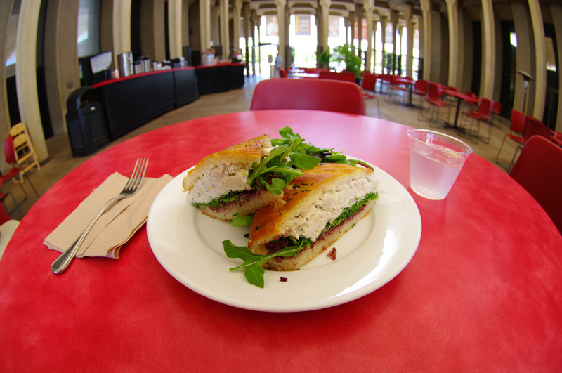 Lunch at the Sculpture Garden Cafe. The fisheye lens seemed all too appropriate for this tuna sandwich.