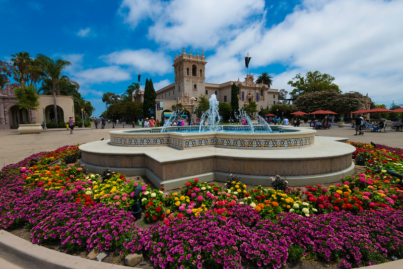 Fountains and flowers in Balboa Park