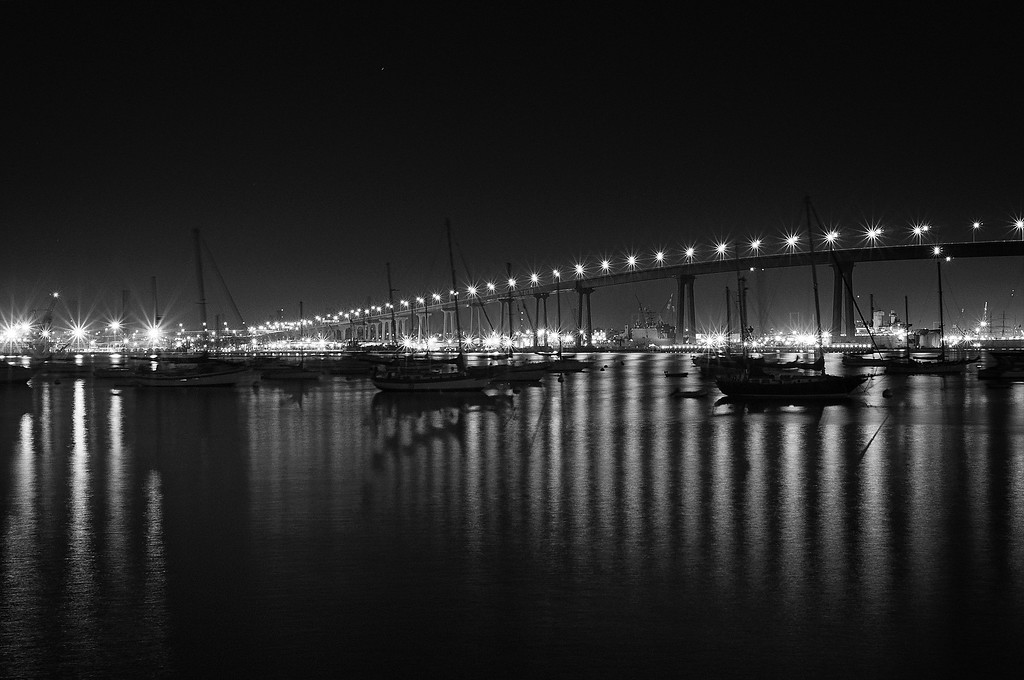 The Coronado bridge at night.