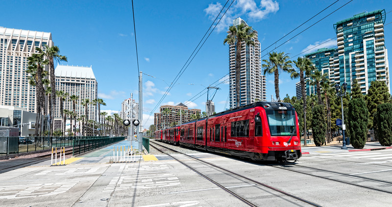 Red Trolley in downtown San Diego