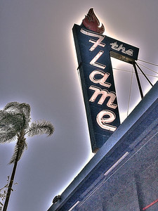 The Flame Neon Sign in Hillcrest
