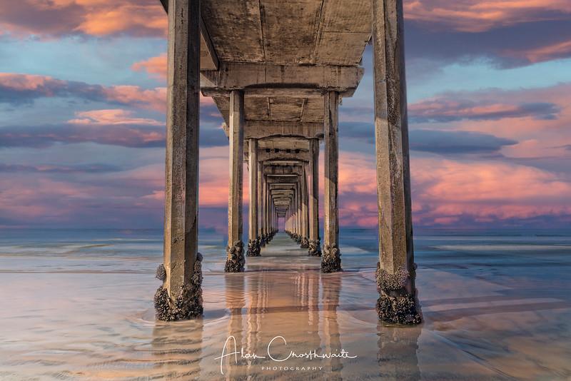 Low tide as Scripps Pier, La Jolla, California.