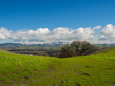Rare SF Bay Area Snow. San Ramon. Intersection of Grey Fox Trail & Redtail Hawk Trail. Bishop Ranch Regional Preserve - San Ramon, CA, USA
