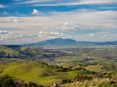 Starting from the foreground: Sunol, CA, Interstate 680, Tri-Valley, Mt. Diablo.  Laurel Loop Trail. Mission Peak Regional Preserve. Fremont, CA, USA