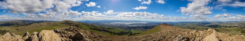 Starting from the left: Rose Peak, Mt. Hamilton, Mt. Allison, San Francisco Bay Area, Sunol, CA, Interstate 680, Mt. Diablo, Tri-Valley.  Panorama. Peak Trail. Mission Peak Regional Preserve. Fremont, CA, USA