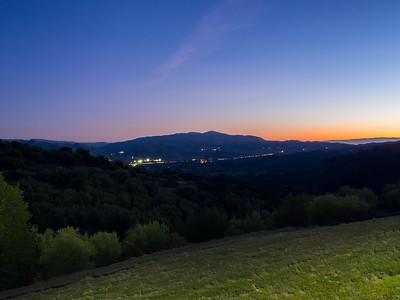 Dusk. Sunol & Interstate 680. Ridgeline Trail. Pleasanton Ridge Regional Park - Sunol, CA, USA