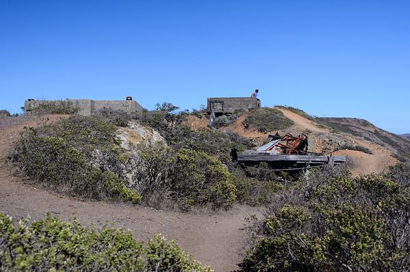 california; golden gate national recreation area; marin headlands; san francisco bay area; santa cruz mountains Sharon enjoys the view from a run down military building.