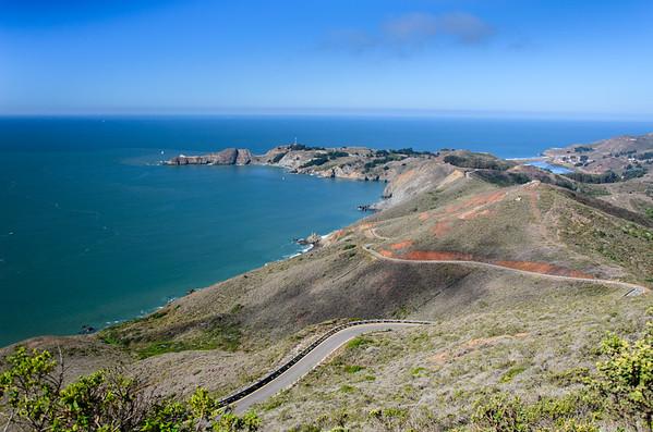 california; golden gate national recreation area; marin headlands; ocean; san francisco bay area; santa cruz mountains Looking toward Point Bonita from the trail.
