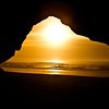 Sunset from cave at Pomponio Beach - CA