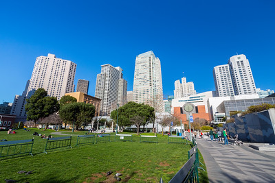 SF MOMA (Orange Building On Right). Yerba Buena Gardens - San Francisco, CA, USA
