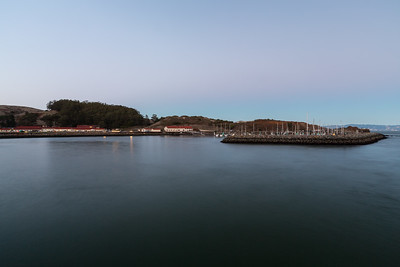Sunset. Horseshoe Bay & Presidio Yacht Club. Moore Road Pier. Fort Baker. Golden Gate National Recreation Area, CA, USA