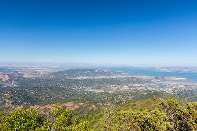 San Rafael, CA  On the right is Richmond - San Rafael Bridge & San Quentin State Prison. Running through the right half of the image is Corte Madera Creek.  Photo shot on East Peak near or along the trail up to East Gardner Fire Lookout. Mt. Tamalpais State Park - Marin County, CA, USA