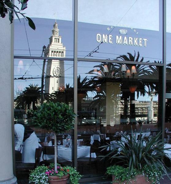 Ferry Bldg reflected in 'One Market' window