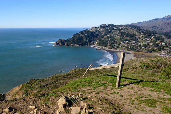 california; golden gate national recreation area; muir beach; ocean; san francisco bay area Old fence remnants point toward Muir Beach down below.