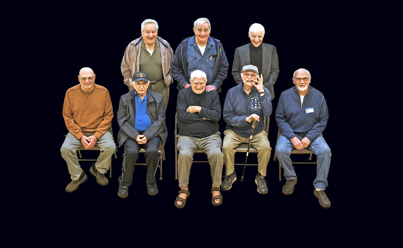 8 old guys in court 16x21
