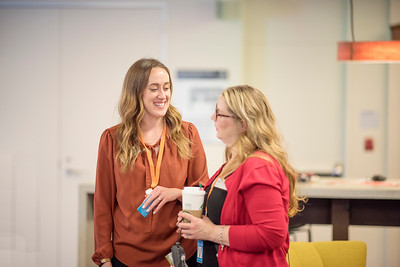 Kaitlin Ferguson (left) enjoys a conversation with Karen Adlman (right) at Chico State's Alumni Day at Salesforce West on Thursday, May 10, 2018 in San Francisco, Calif. (Jessica Bartlett /University Photographer/CSU Chico)