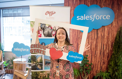 Alumnus Penelope Thompsony takes a photo at the photo booth at Chico State's Alumni Day at Salesforce West on Thursday, May 10, 2018 in San Francisco, Calif. (Jessica Bartlett /University Photographer/CSU Chico)