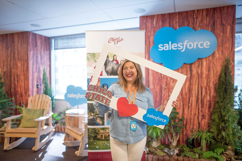 Bay Area Chapter Alumnus Anna Reynoso takes a photo at the photo booth at Chico State's Alumni Day at Salesforce West on Thursday, May 10, 2018 in San Francisco, Calif. (Jessica Bartlett /University Photographer/CSU Chico)