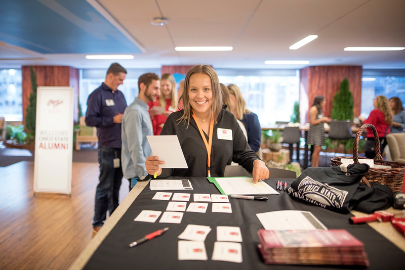 Elise Slusarz enjoys Chico State's Alumni Day at Salesforce West on Thursday, May 10, 2018 in San Francisco, Calif. (Jessica Bartlett /University Photographer/CSU Chico)