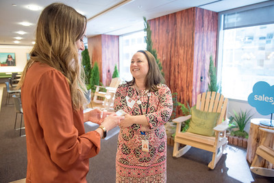 Penelope Thompson (right) enjoys a conversation with Kaitlin Ferguson (left) at Chico State's Alumni Day at Salesforce West on Thursday, May 10, 2018 in San Francisco, Calif. (Jessica Bartlett /University Photographer/CSU Chico)
