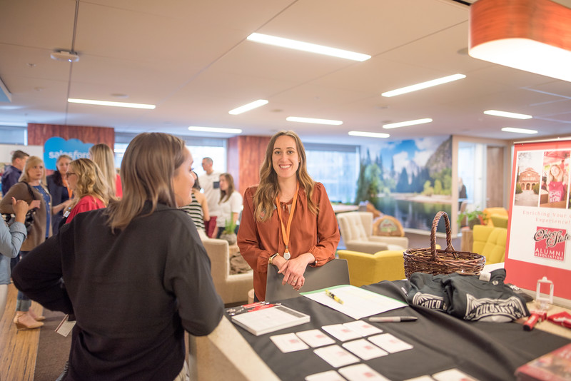 Kaitlin Ferguson (center) enjoys Chico State's Alumni Day at Salesforce West on Thursday, May 10, 2018 in San Francisco, Calif. (Jessica Bartlett /University Photographer/CSU Chico)
