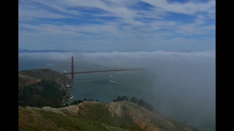 The wind and fog were at its blustery best in the Marin Headlands on Sunday, July 13, 2014.  Time-lapse comprised of 409 individual images at 5 seconds apart.