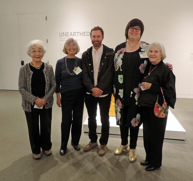 Left to Right: Hideko Metaxas (San Francisco Suiseki Kai); Janet Roth (San Francisco Suiseki Kai); Jedediah Caesar (Featured artist); Christina Linden; Polly Gould (California Suiseki Society)