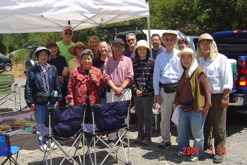 Members and guests of San Francisco Suiseki Kai; Eel River; May 31, 2008<br /> <br /> One of the highlights of our group tanseki (stone collecting) trips are the pot-luck picnics.<br /> <br /> Mieko Yoshikawa, Sharon and Larry Hoffman, Lindsay Hilsenbeck, Yaeko Nishizawa, Mas Nakajima, Janet Roth, Mr. Yamaguchi, Dorwin Hilsenbeck, Mrs. Yamaguchi, Brent Meran, Ben Yoshikawa, Jenn Meran, Motoko and Ben Nanjo.  The Hoffmans and Yamaguchis were guests for the day.