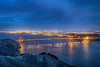The Golden Gate Bridge and the San Francisco city lights