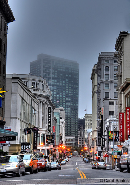 This is Grant street, the other side of Chinatown. The fog is looming over the tops of the taller buildings.