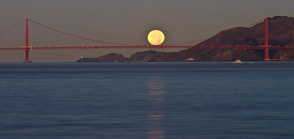 Moon setting over Marin Headlands