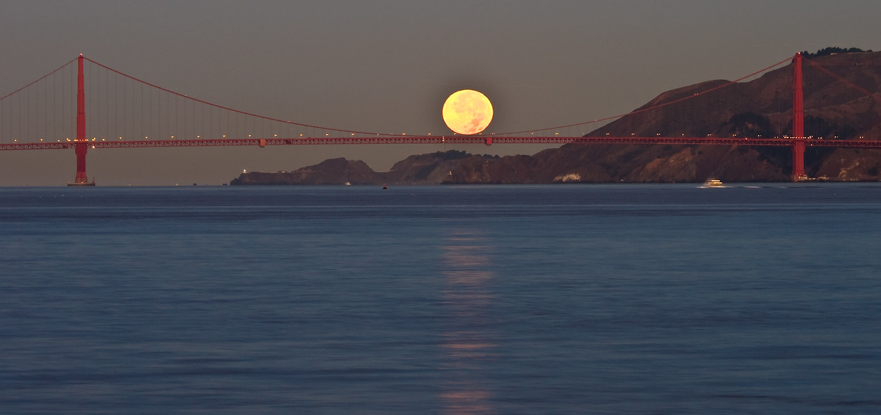 Moon setting over Marin Headlands