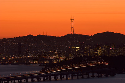 Bay Bridge and the Sutro Tower at Sunset