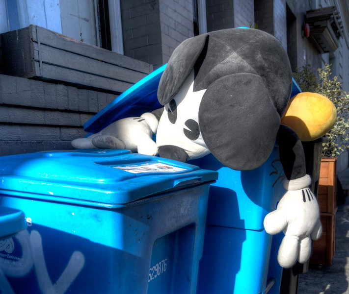When Mickey Mouse wakes up in a recycling bin, he's having a bad day!