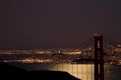 San Francisco at night with a full moon