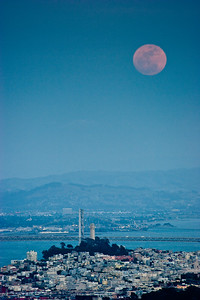 Moonrise with Coit Tower