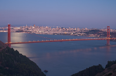 San Francisco and the Golden Gate Bridge on a moonlit night