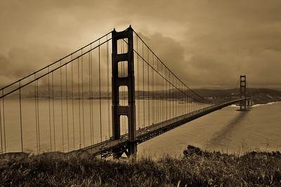 Bay Bridge in Sepia