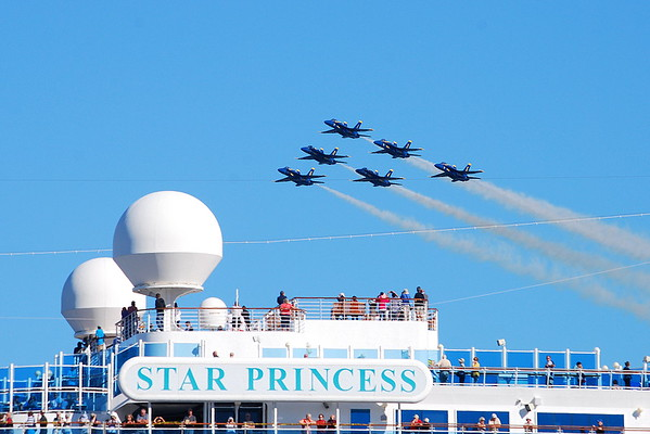 Blue Angles above Princess Cruise ship in San Francisco, Ca