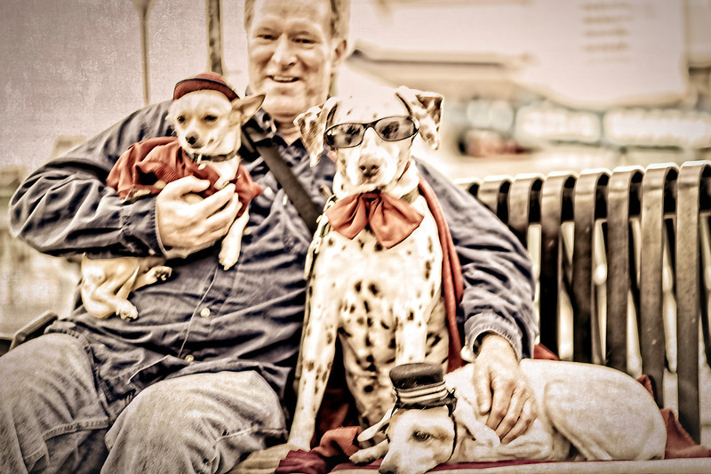 me and the dogs at Fisherman's Wharf in San Framcisco <p></p> this photograph makes me laugh for so many reasons