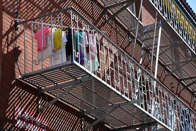 Laundry Drying on Fire Escape in Chinatown