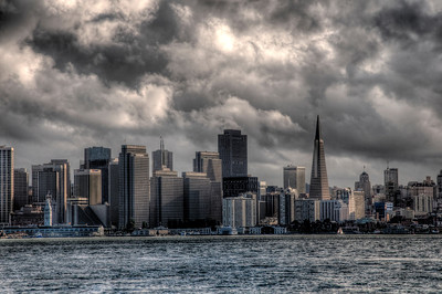Looking at the City from Treasure Island just before the storm