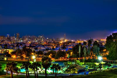 Dolores Park, San Francisco California, Night shot overlooking the city.