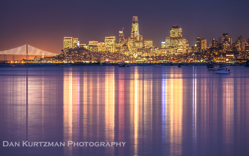 San Francisco City Lights Reflecting on the Bay