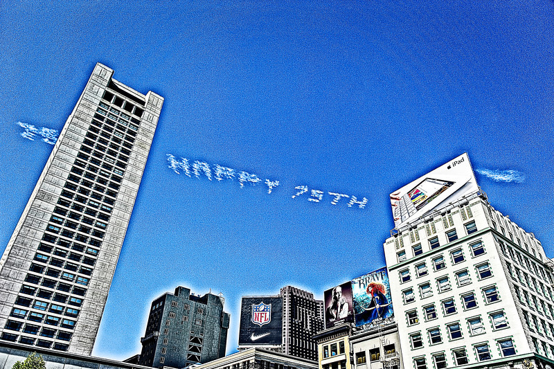 Happy 75th Anniversary to the Golden Gate Bridge photographed from Union Square, San Francisco, CA