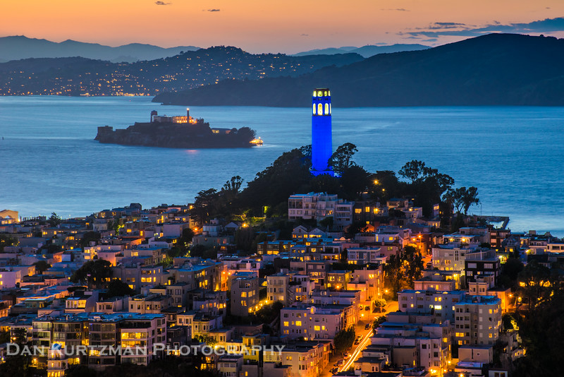 Coit Tower Lit in Blue for the Golden State Warriors