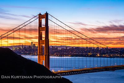 The Golden Gate Bridge and SF Skyline at Sunrise