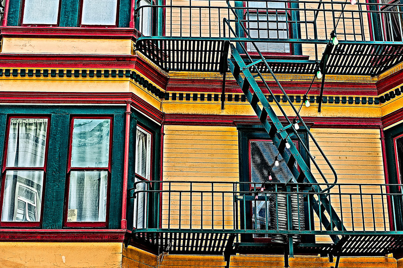 fire escapes and party lights, San Francisco, CA
