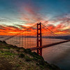 Fiery Sunrise Over The Golden Gate Bridge